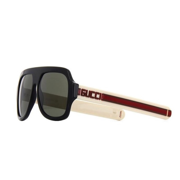 a226719cd0 Gucci 0255S001 Black Ivory Red Grey Sunglasses